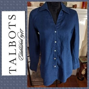Talbot's navy Irish linen shirt